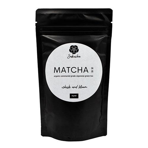 Sakucha organic ceremonial grade matcha in home compostable tea pouch